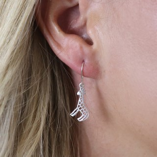 Sterling silver giraffe drop earrings with cut-out detailing | Image 3