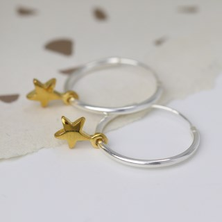 Sterling silver fine hoop earrings with gold plated stars | Image 2