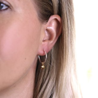 Sterling silver fine hoop earrings with gold plated stars | Image 5