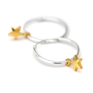 Sterling silver fine hoop earrings with gold plated stars | Image 4