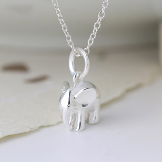 Sterling silver elephant pendant on a fine silver chain | Image 3