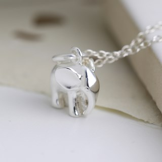 Sterling silver elephant pendant on a fine silver chain | Image 2