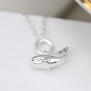Sterling silver whale pendant on a fine silver chain | Image 3