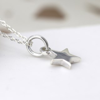 Sterling silver little star pendant on a fine silver chain | Image 3