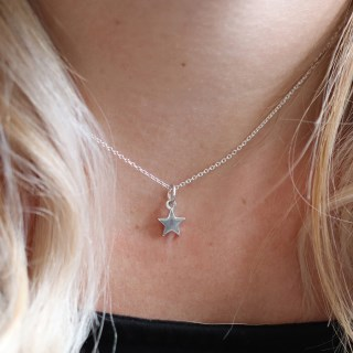Sterling silver little star pendant on a fine silver chain | Image 2