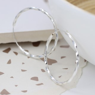 Sterling silver large hoop earrings with twisted design | Image 2