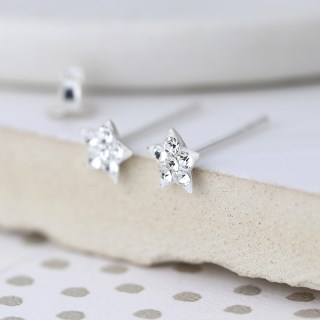 Sterling silver and clear crystal star earrings | Image 2