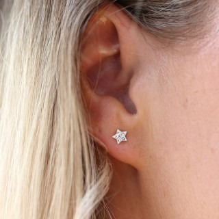 Sterling silver and clear crystal star earrings | Image 3