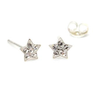 Sterling silver and clear crystal star earrings | Image 4