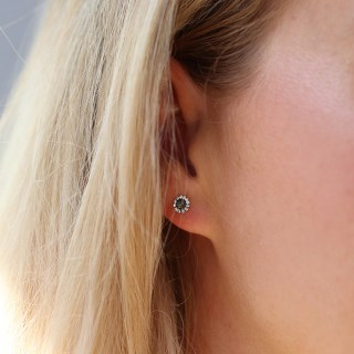 Sterling silver round shell and crystal stud earrings | Image 3