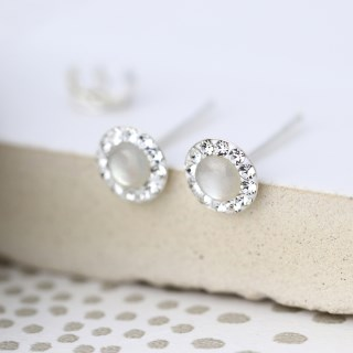 Sterling silver round crystal earrings with pearl centre | Image 2