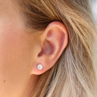 Sterling silver round crystal earrings with pearl centre | Image 3