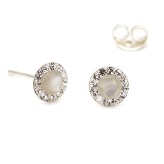 Sterling silver round crystal earrings with pearl centre | Image 4