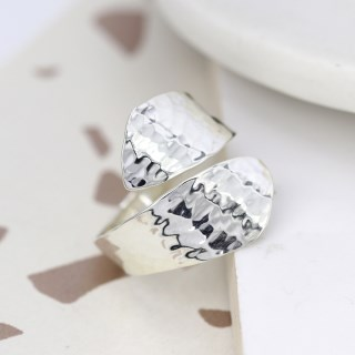 Sterling silver wrap ring with a hammered finish | Image 4