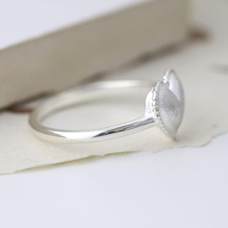 Sterling silver ring with a heart and scratched finish | Image 2