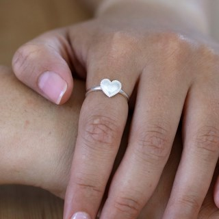 Sterling silver ring with a heart and scratched finish | Image 3