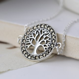Sterling silver bracelet with a marcasite tree of life disc | Image 2