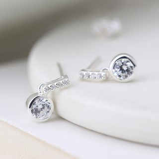 Sterling silver and CZ crystal bar and drop earrings | Image 2