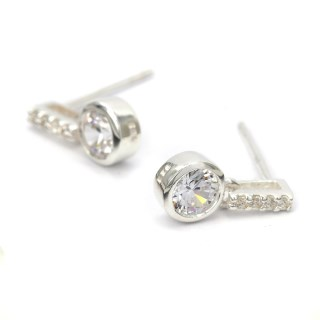 Sterling silver and CZ crystal bar and drop earrings | Image 5