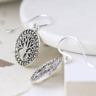 Sterling silver marcasite tree of life drop earrings | Image 2