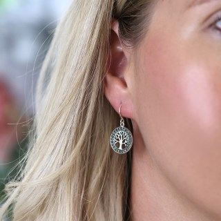 Sterling silver marcasite tree of life drop earrings | Image 3