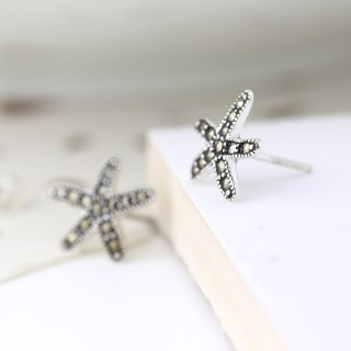 Sterling silver and marcasite starfish stud earrings | Image 4