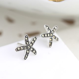 Sterling silver and marcasite starfish stud earrings | Image 2