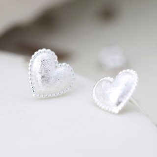 Sterling silver heart stud earrings with a scratched finish | Image 2