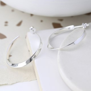 Sterling silver hoop earrings with a smooth twist | Image 2