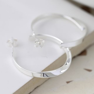 Sterling silver hoop earrings with a smooth twist | Image 4