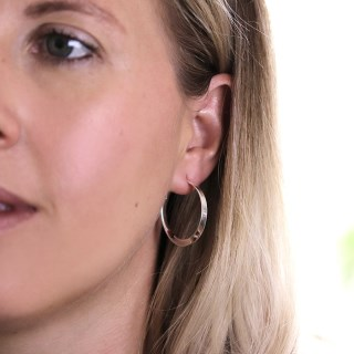 Sterling silver hoop earrings with a smooth twist | Image 3