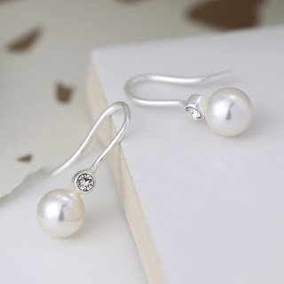 Sterling silver pearl drop earrings with crystals | Image 4