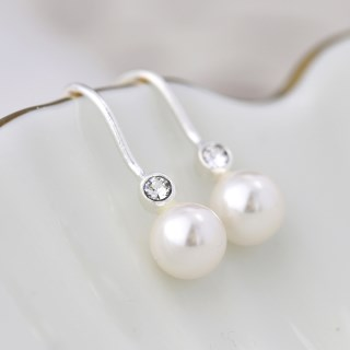 Sterling silver pearl drop earrings with crystals | Image 2