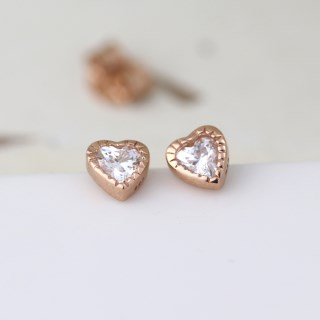 Rose gold tiny heart stud earrings with crystals | Image 2