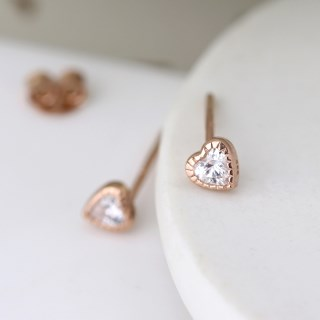 Rose gold tiny heart stud earrings with crystals | Image 4