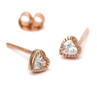 Rose gold tiny heart stud earrings with crystals | Image 5