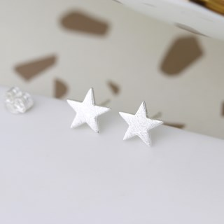 Sterling silver star stud earrings with a scratched finish | Image 2