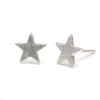 Sterling silver star stud earrings with a scratched finish | Image 5