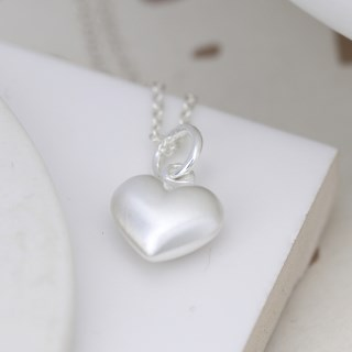 Sterling silver brushed heart pendant on a fine chain | Image 3