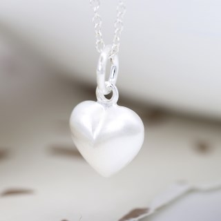 Sterling silver brushed heart pendant on a fine chain | Image 4
