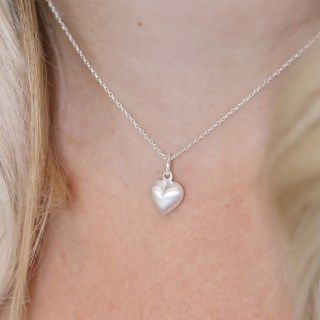 Sterling silver brushed heart pendant on a fine chain | Image 2