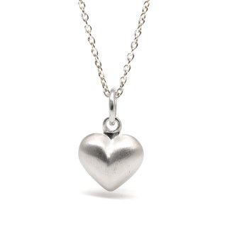 Sterling silver brushed heart pendant on a fine chain | Image 6