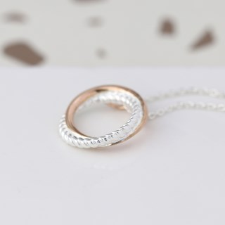 Sterling silver twist and rose gold linked hoop necklace | Image 4