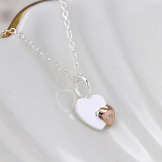 Sterling silver and rose gold crystal heart necklace | Image 2