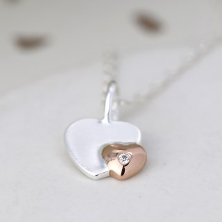 Sterling silver and rose gold crystal heart necklace | Image 3