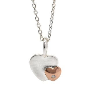 Sterling silver and rose gold crystal heart necklace | Image 5