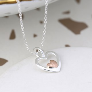 Sterling silver and rose gold nested hearts necklace | Image 3