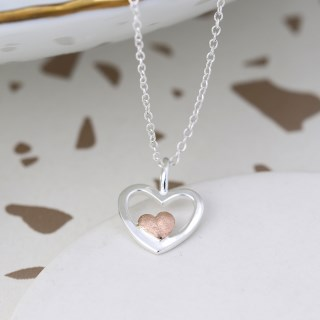 Sterling silver and rose gold nested hearts necklace | Image 4