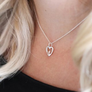 Sterling silver and rose gold nested hearts necklace | Image 2