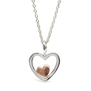 Sterling silver and rose gold nested hearts necklace | Image 5